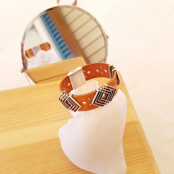 Bracelet cuir - Camel et argent
